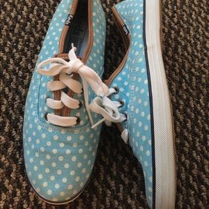 Women's Keds Light Blue Polka Dot Sneakers 7.5M